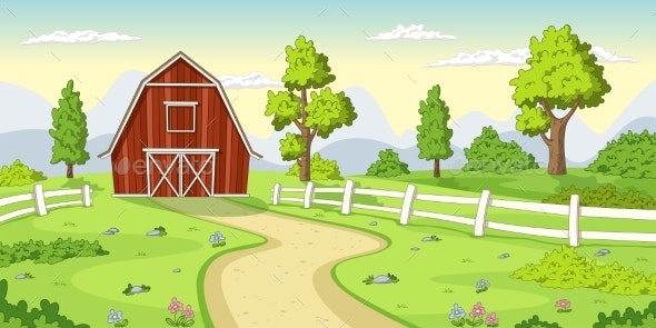 Red Farm with Fence - Buildings Objects
