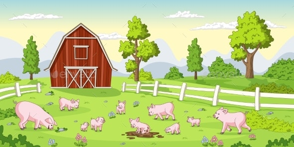 Pigs on a Farm - Animals Characters