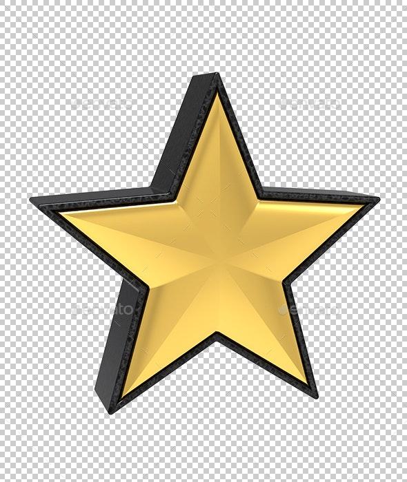 Golden Star in Granite - Objects 3D Renders