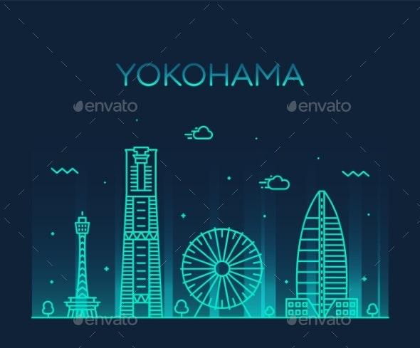 Yokohama Skyline, Japan Trendy Vector Linear Style - Buildings Objects
