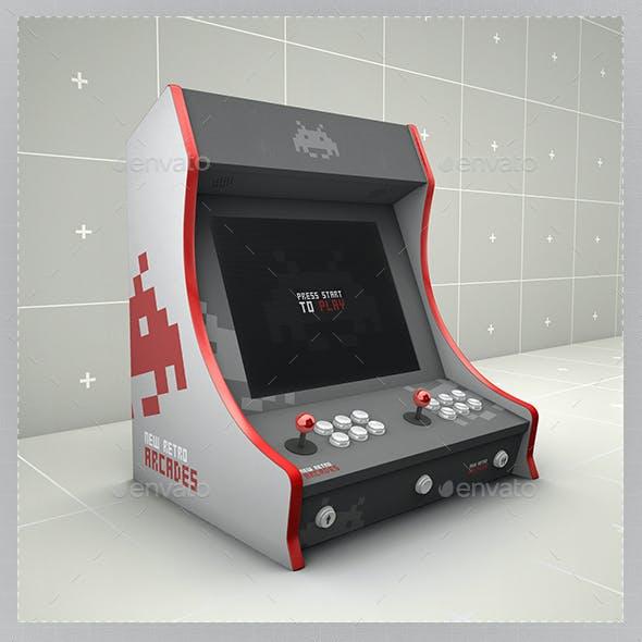 Retro Gaming Bartop Arcade Cabinet Mockup Template