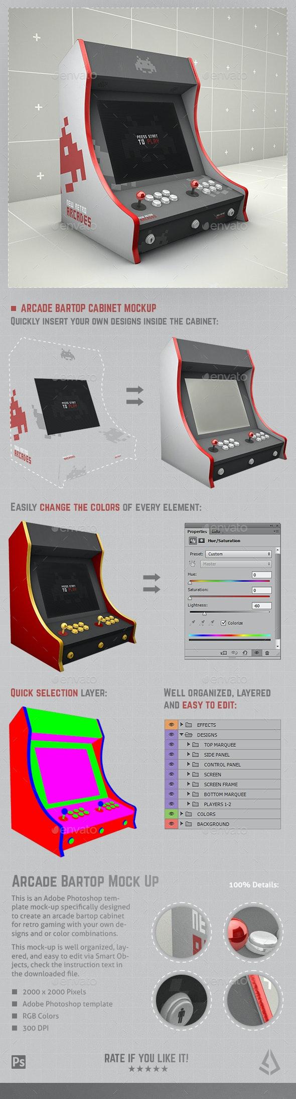 Retro Gaming Bartop Arcade Cabinet Mockup Template - Displays Product Mock-Ups