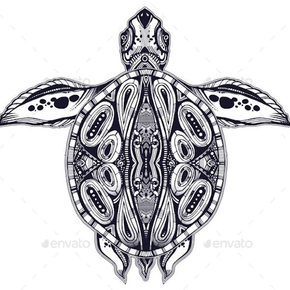 Ornate Tribal Sea Turtle in Indigenous Polynesian