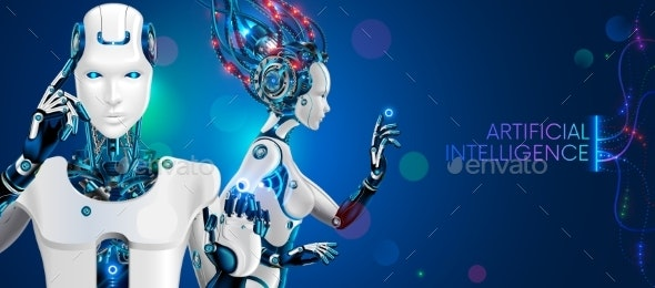 Humanoid robot man and woman with ai. White cyborgs. Artificial intelligence technology concept. - Technology Conceptual