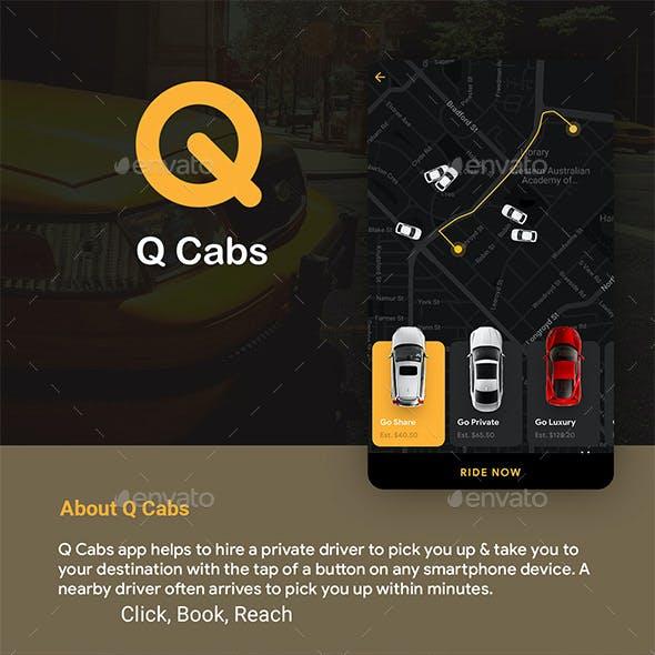 Cab Booking App & Driver App UI Kit | Q Cabs