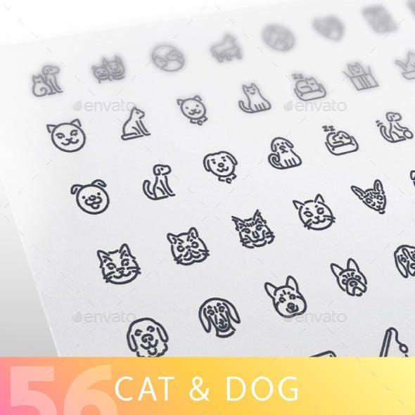 Cat & Dog Line Icons Set