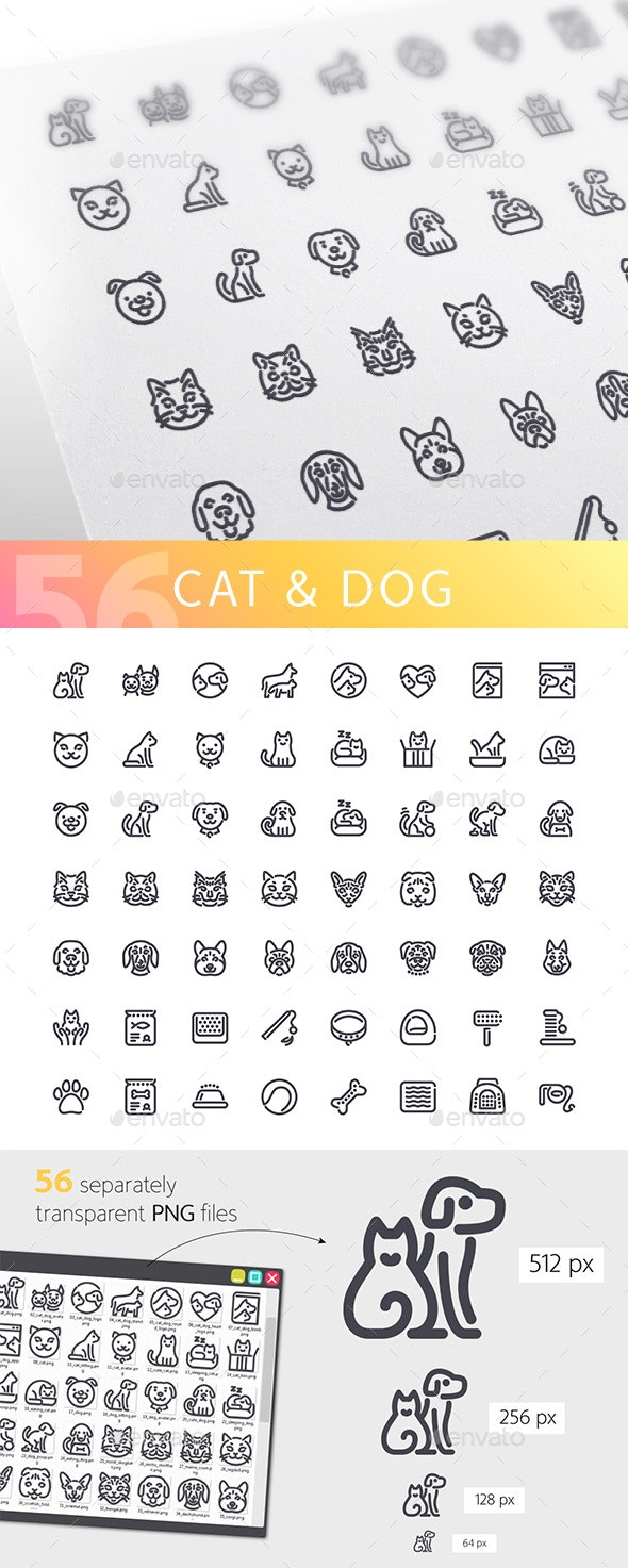 Cat & Dog Line Icons Set - Animals Characters