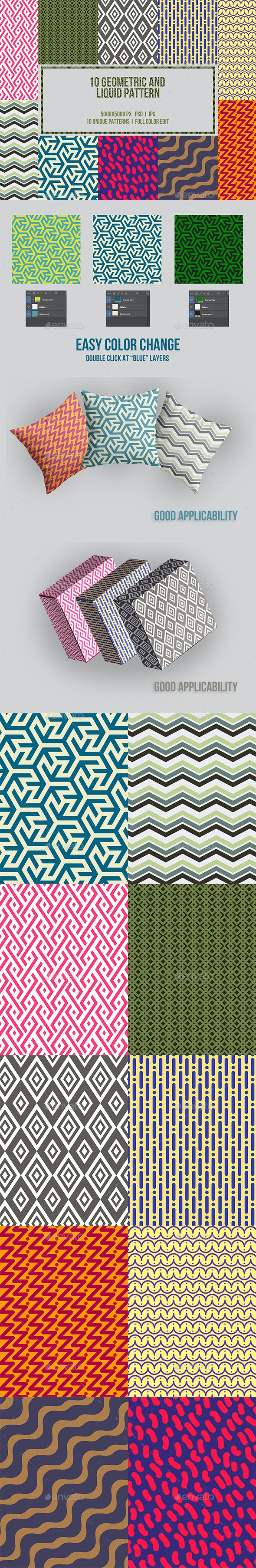 10 Geometric and Liquid Pattern - Backgrounds Graphics
