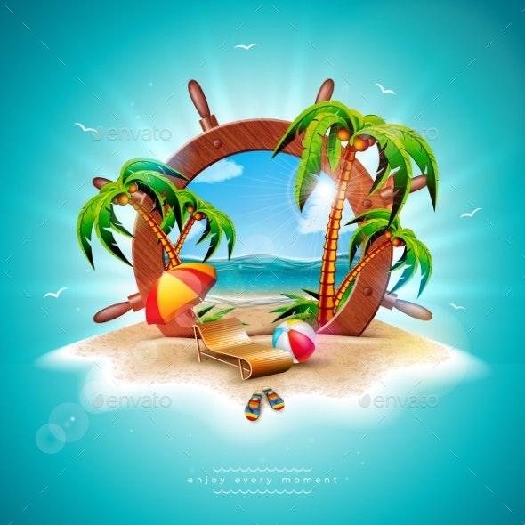Vector Summer Holiday Illustration with Ship - Seasons/Holidays Conceptual