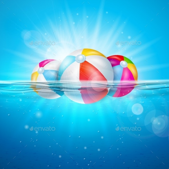 Vector Summer Illustration with Colorful Beach - Seasons/Holidays Conceptual