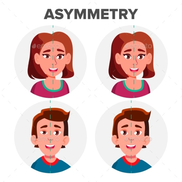Eyes Asymmetry Of Character Man And Girl Vector - People Characters