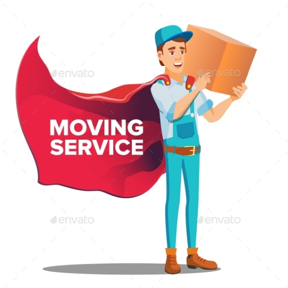 Character Workman Mover With Cardboard Box Vector - People Characters