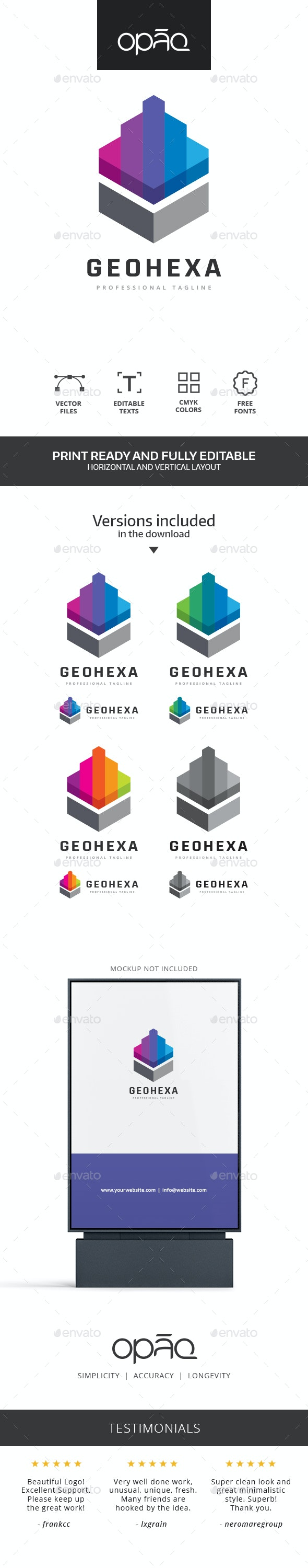 Geometric Hexagonal Shape Logo - Abstract Logo Templates
