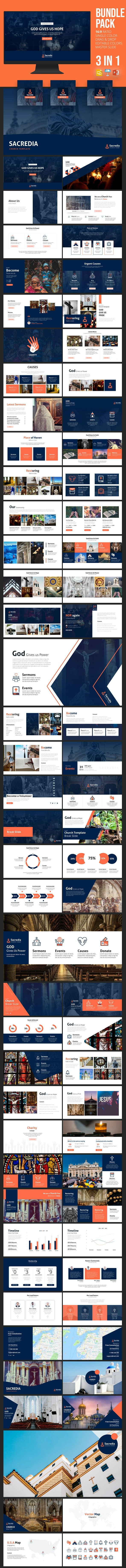3 in 1 Church Presentation Template Bundle - Presentation Templates