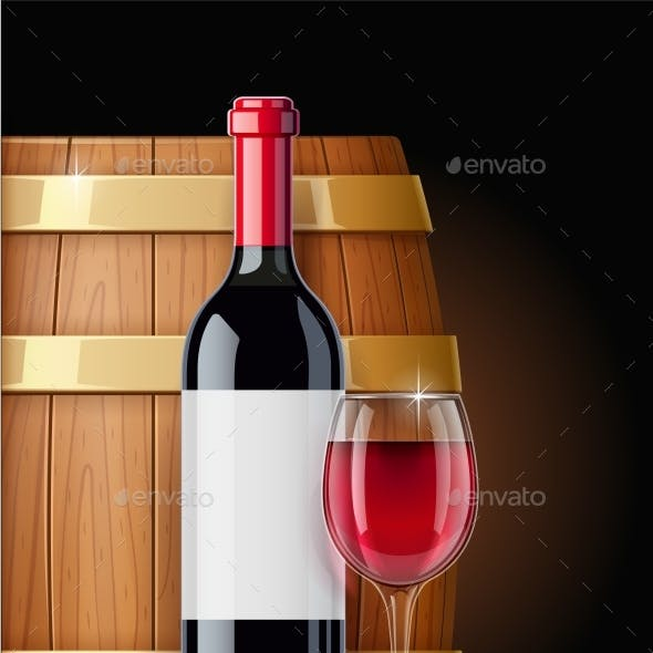 Wooden Barrel with Wine Bottle and Wineglass. Vessel