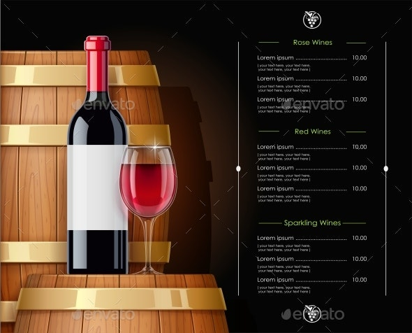 Wooden Barrel with Wine Bottle and Wineglass. Vessel - Vectors