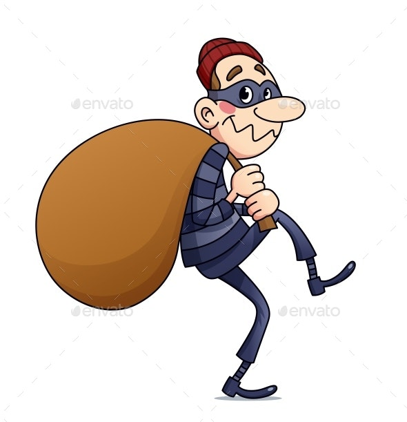 Bandit Carry Sack with Money. Vector Illustration. Illustrative - Vectors