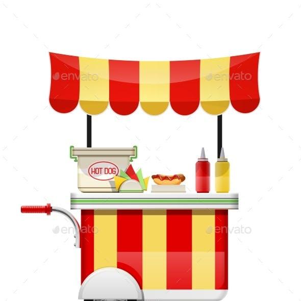 Hot Dog Cart. Fast Food Snack Bar. Vector Illustration.