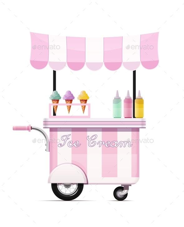 Ice-cream Cart. Fast Food Snack Bar. Mobile Shop. Vector. - Vectors
