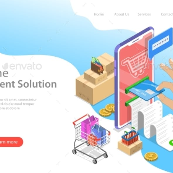 Isometric Flat Vector Landing Page Template of Pay