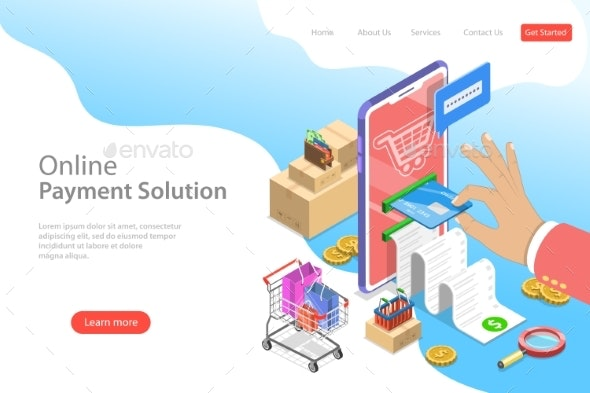 Isometric Flat Vector Landing Page Template of Pay - Technology Conceptual