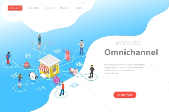Isometric Flat Vector Landing Page Template of - Business Conceptual