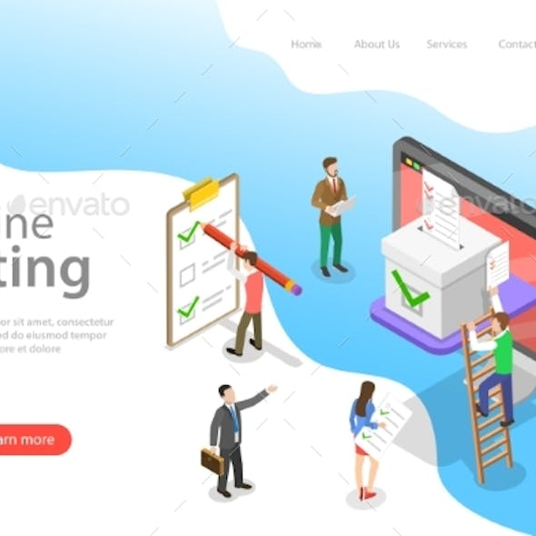Isometric Flat Vector Landing Page Template of