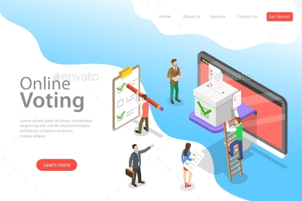 Isometric Flat Vector Landing Page Template of - Computers Technology