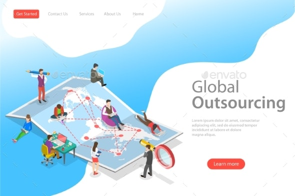 Isometric Flat Vector Landing Page Template of - Technology Conceptual
