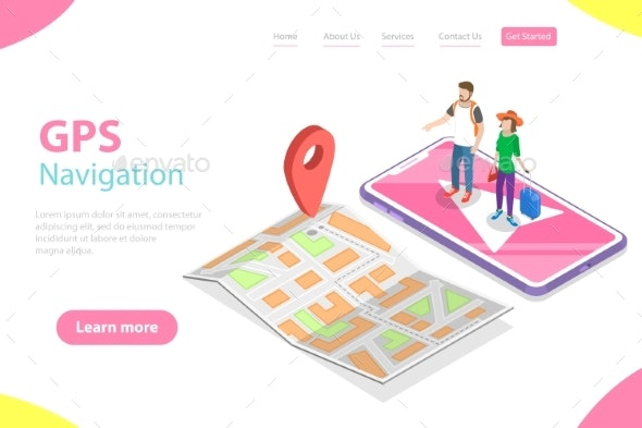 Isometric Flat Vector Landing Page Tempate of - People Characters