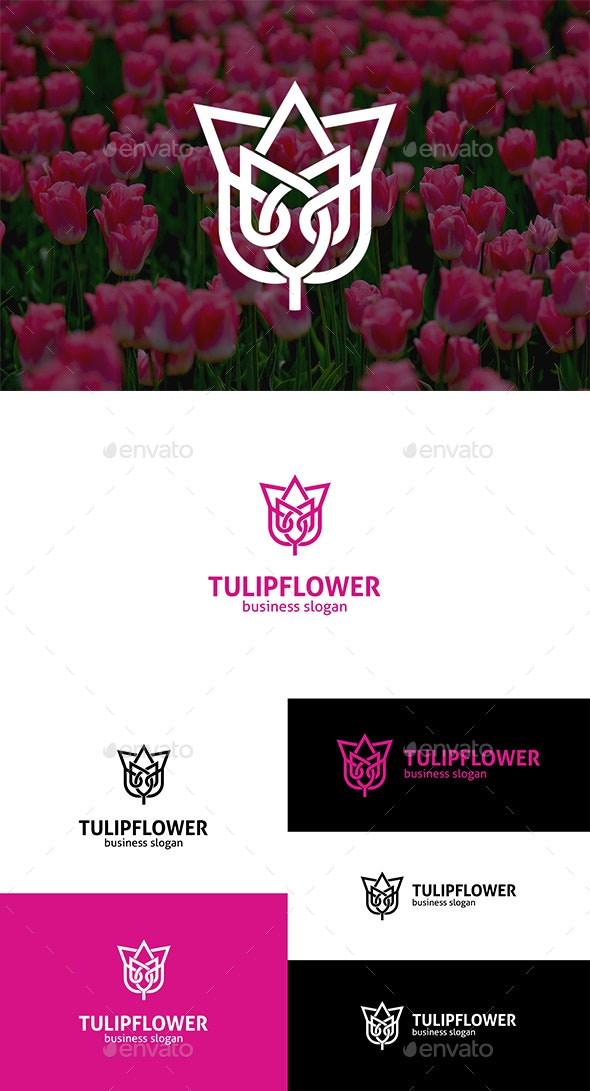 Tulip Flower Interlacing Line Logo - Nature Logo Templates