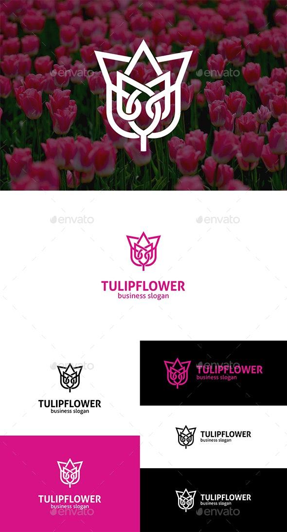 Tulip Flower Interlacing Line Logo - Nature Logo Templates