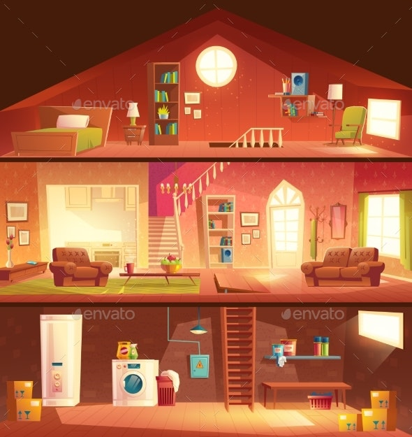 House Cross Section Interiors Cartoon Vector - Buildings Objects