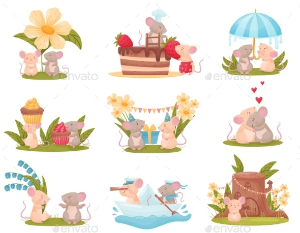 Set of Images of Humanized Mice Vector - Animals Characters