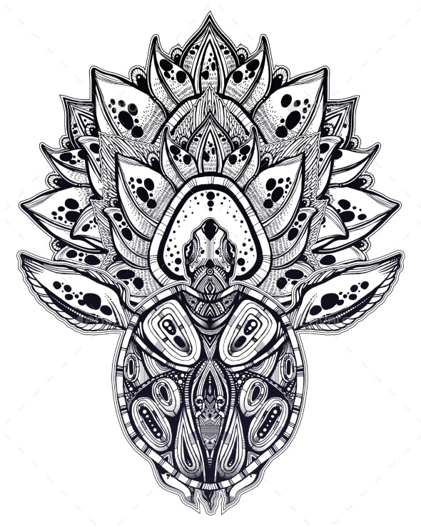 Ornate Tribal Sea Turtle in Indigenous Polynesian - Animals Characters