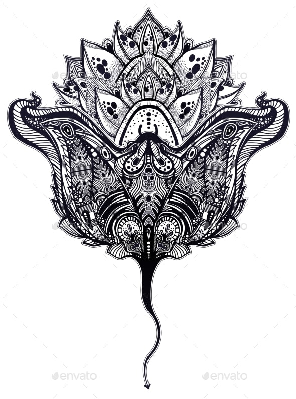 Ornate Tribal Stingray Sea Fish in Indigenous - Animals Characters