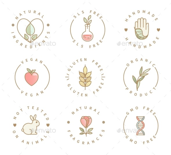 Set of Eco Product Logos Natural Organic Icons - Food Objects