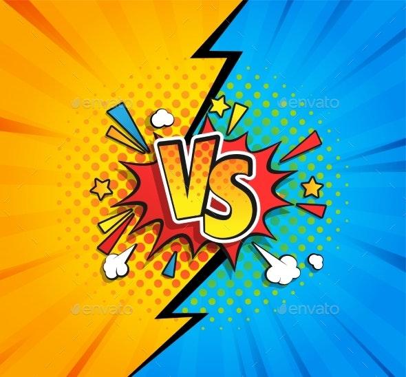 Versus Competitive Concept Bubble in Comic Style - Miscellaneous Vectors
