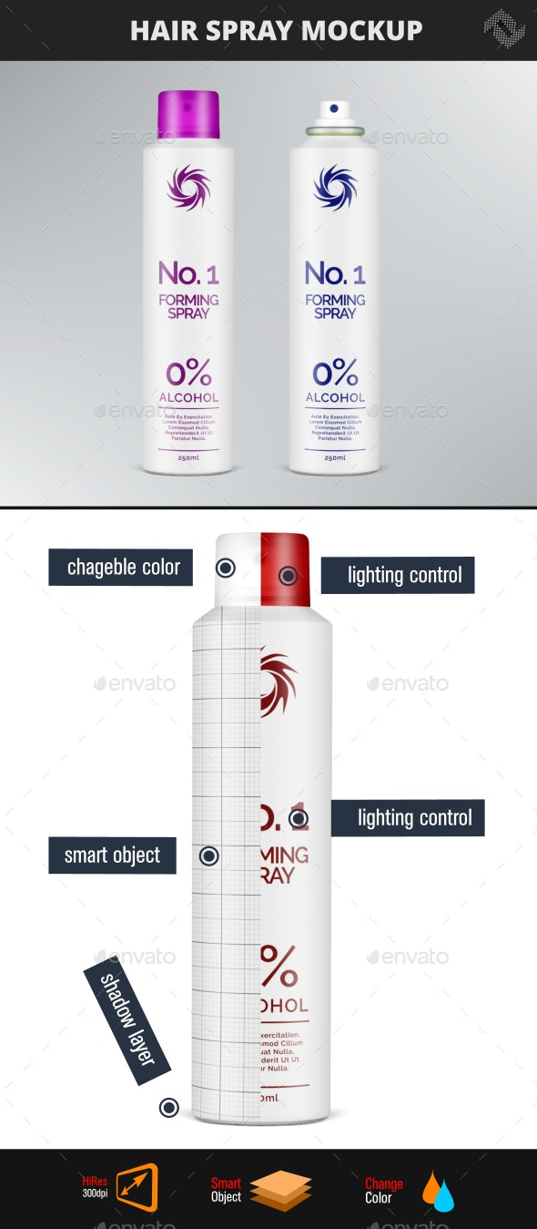 Hair Styling Volumen Forming Spray Mockup - Beauty Packaging