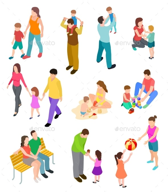Isometric Family - People Characters