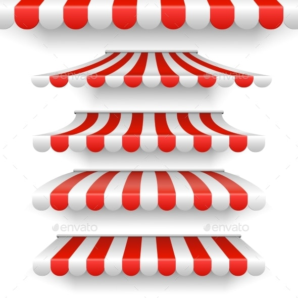 Vector Outdoor Awnings Red and White Stripes - Man-made Objects Objects