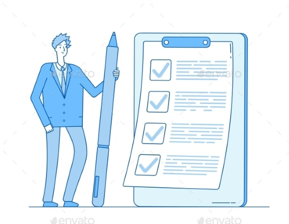 Checklist Businessman - People Characters