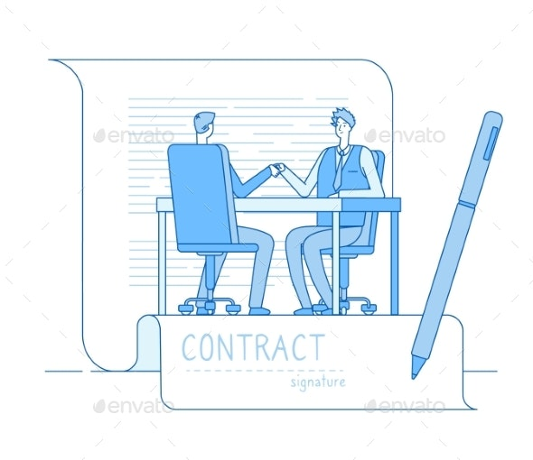 Agreement Contract. Business Partnership - People Characters