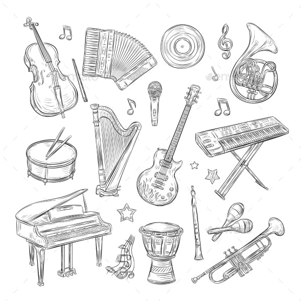 Musical Instruments Doodles - Man-made Objects Objects