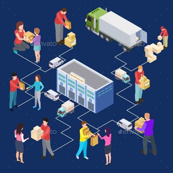 Vector 3d Isometric Warehouse and Delivery Concept