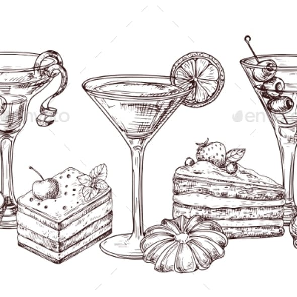 Hand Drawn Desserts and Soft Cocktails Vector