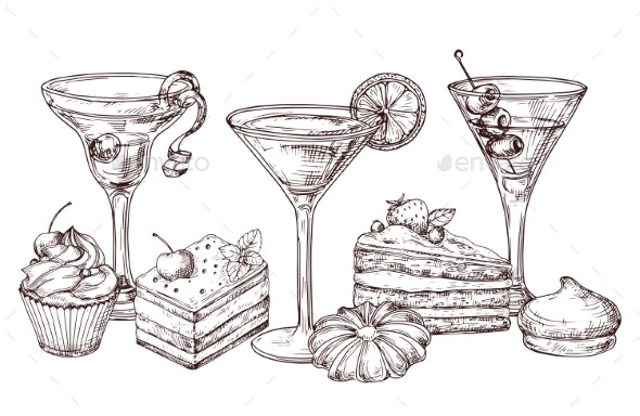 Hand Drawn Desserts and Soft Cocktails Vector - Food Objects