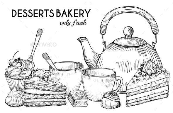 Desserts Bakery Shop Vector Banner Template - Food Objects