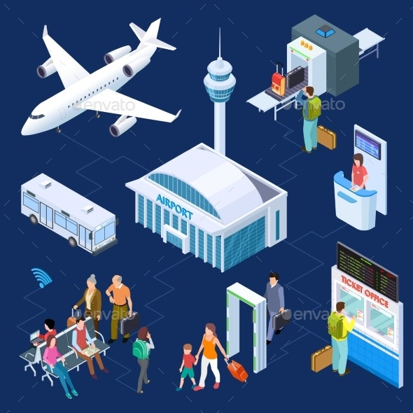 Airport Isometric Vector Concept - Travel Conceptual