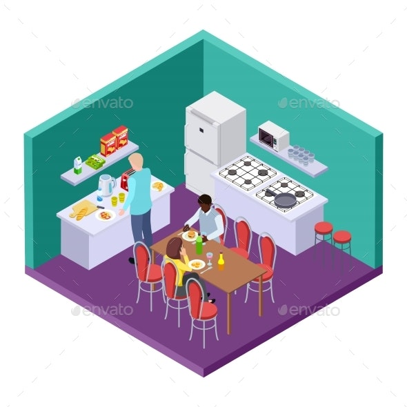 Shared Kitchen in an International Hostel - Miscellaneous Vectors